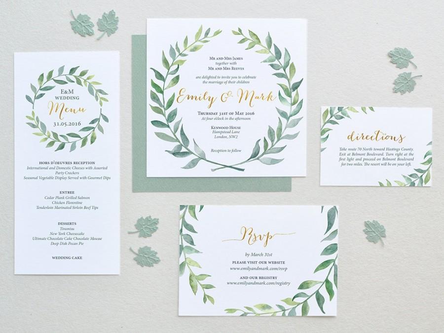 Watercolor Wedding Invitation Leaves Wreath Set - Square