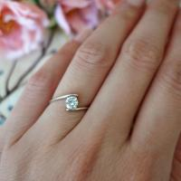 Swirl Ring, Minimalist Ring, 1/2 Ct Solitaire Ring, Simple ...