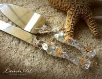 Beach Wedding Cake Server Set & Knife Beach Cake Cutting