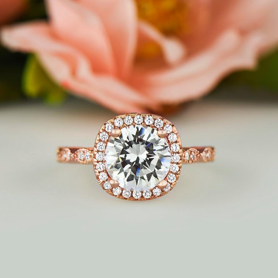 antique rose gold ring vintage style wedding rings Antique rose gold ring Pompeii 2 83 Ct Cushion Morganite Vintage Antique Engagement Diamond Ring