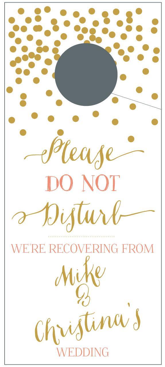 do not disturb door hangers with gold confetti for wedding welcome do not disturb door
