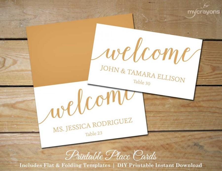 Bella Script Wedding Place Cards Gold, Printable Placecards   DIY - template for name cards