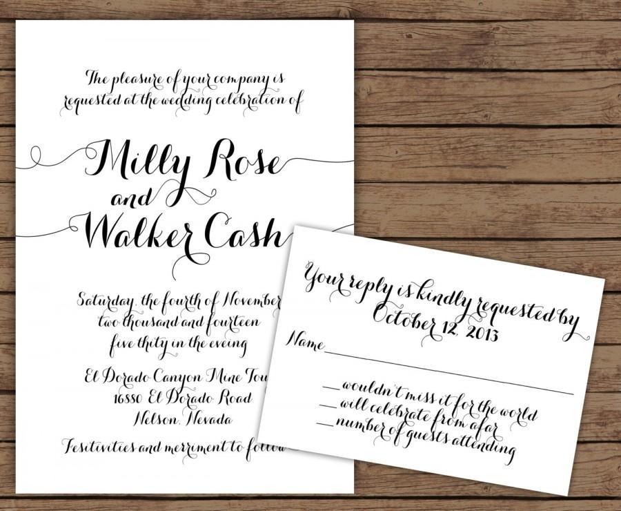 Modern Calligraphy Wedding Invitation With RSVP #2570390 - Weddbook
