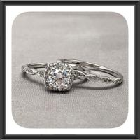 Halo Fine Quality Cubic Zirconia Engagement Ring Set In ...