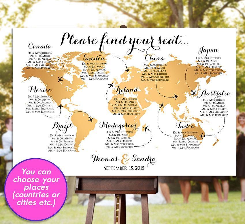 Wedding Seating Chart - RUSH SERVICE - Gold World Map Plane Travel