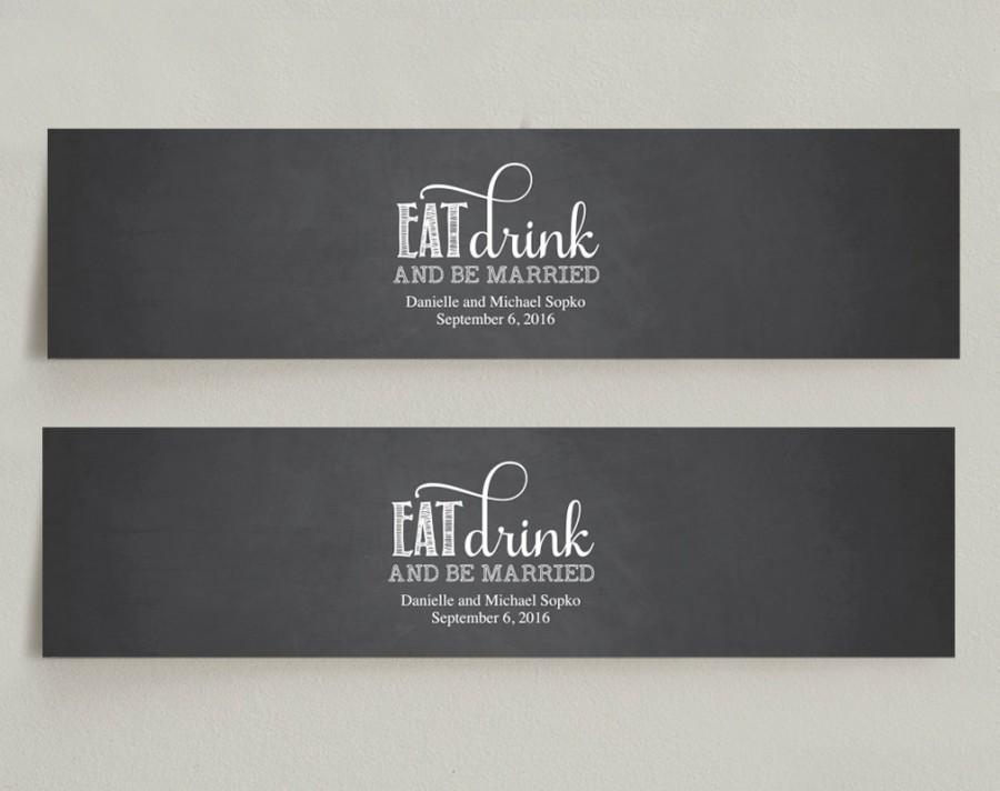 Wedding Water Bottle Labels - Chalkboard Wedding Editable PDF