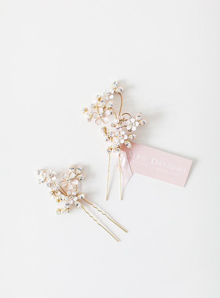Wedding Hair Pins, Flower Hair Pins, Crystal Hair Pins