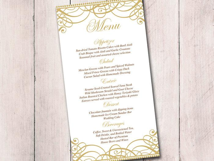 Gold Wedding Menu Card Template - Wedding Reception Menu - Flourish