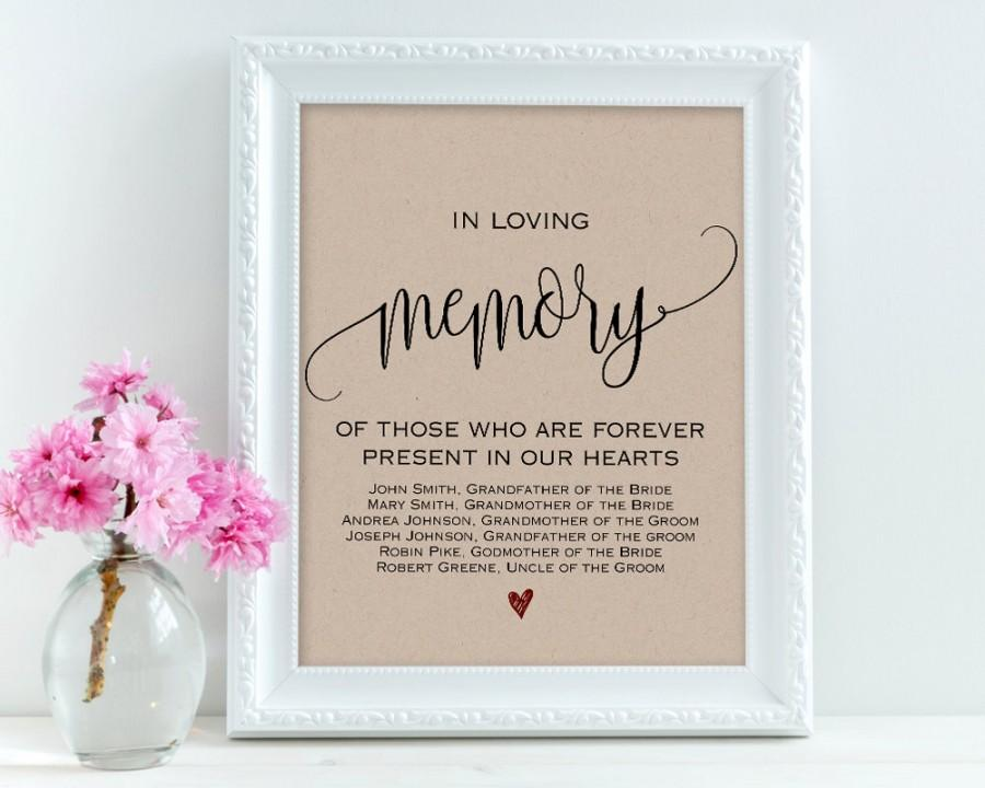 In Loving Memory, Wedding Signs, Personalized Sign, Memory Sign