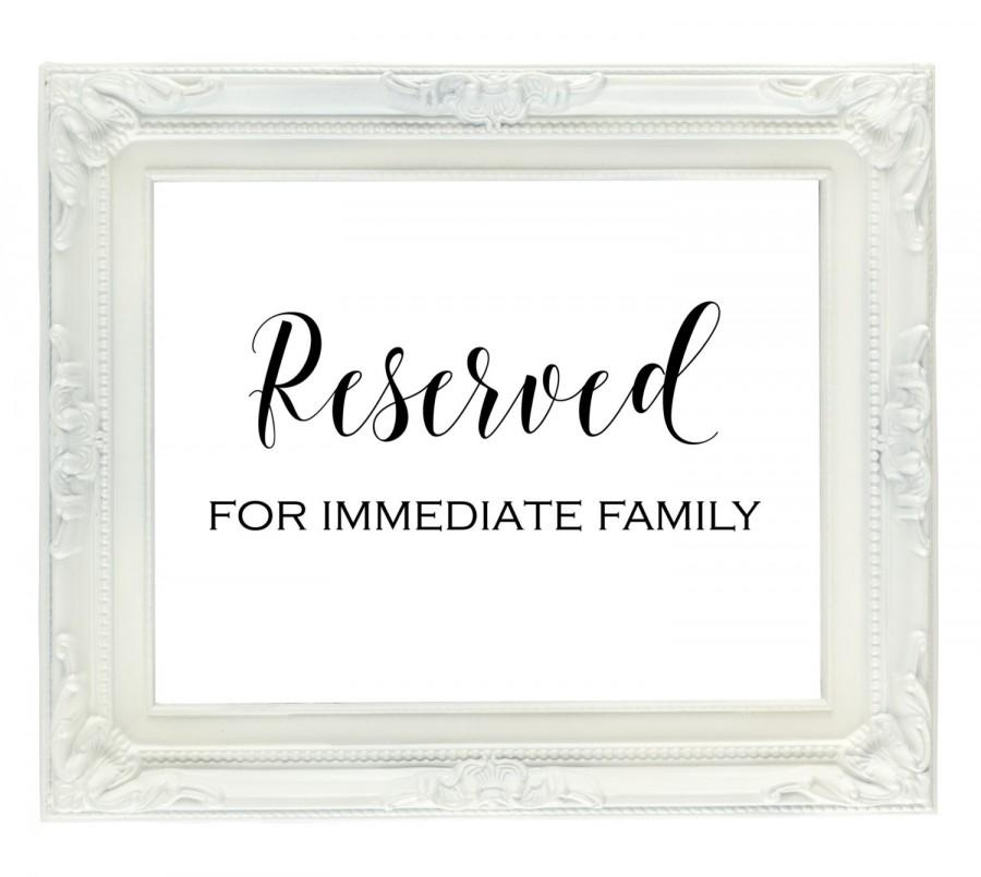 Reserved For Family Sign, Reserved Seating Sign, Wedding Reception