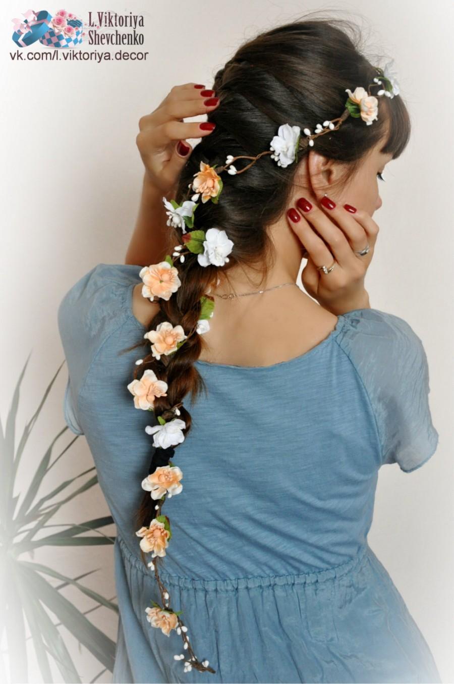 Flower Hair Garland Bridal Flower Crown Wedding Hair