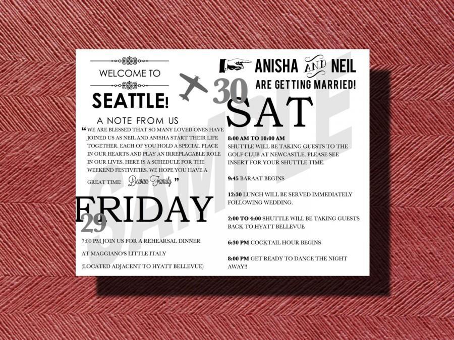 Seattle Washington Destination Wedding Welcome Bag Weekend Itinerary