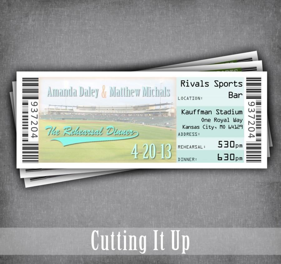 Baseball Rehearsal Dinner Invitation, Baseball Wedding, Baseball - ticket invitation