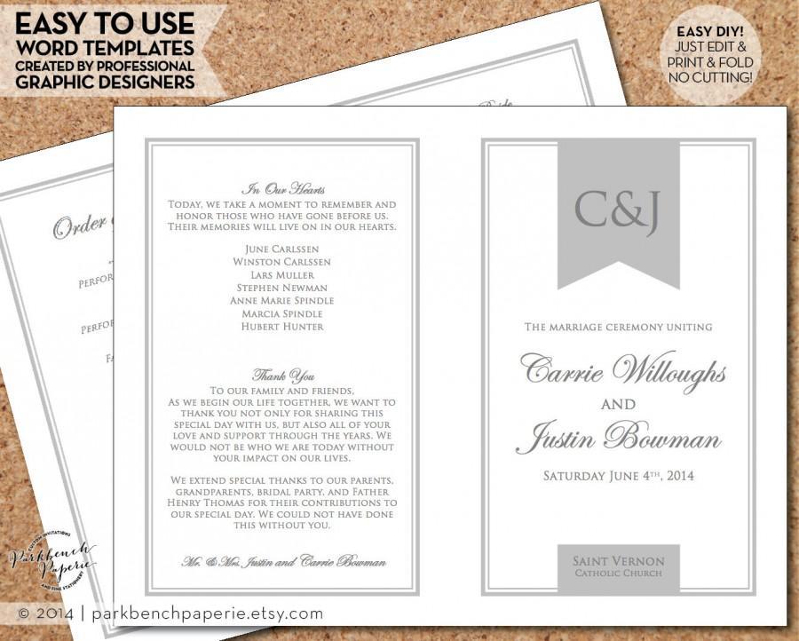 Wedding Program Template - Simple Banner, Gray - DIY Editable Word