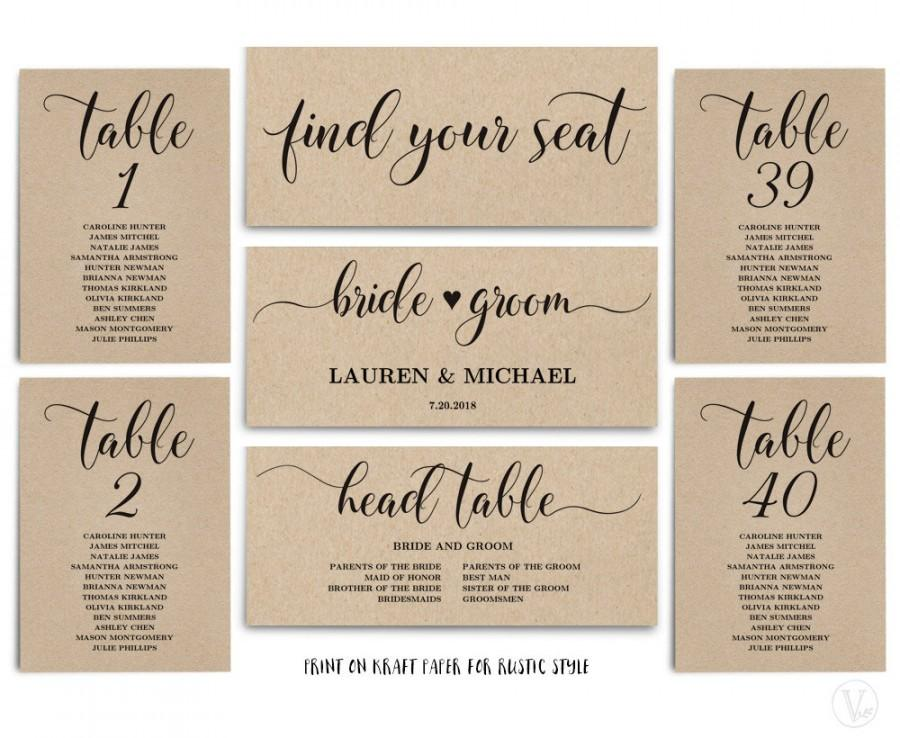 Rustic Wedding Seating Chart Template, Header Signs And Table Signs