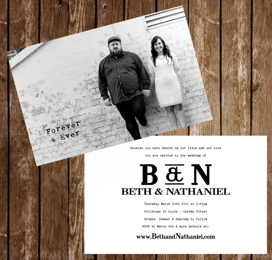 Wedding Invitation Postcards Black And White Photo 4x6\