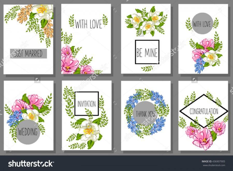 Wedding Invitation And Valentine Greeting Cards Set Of Printable