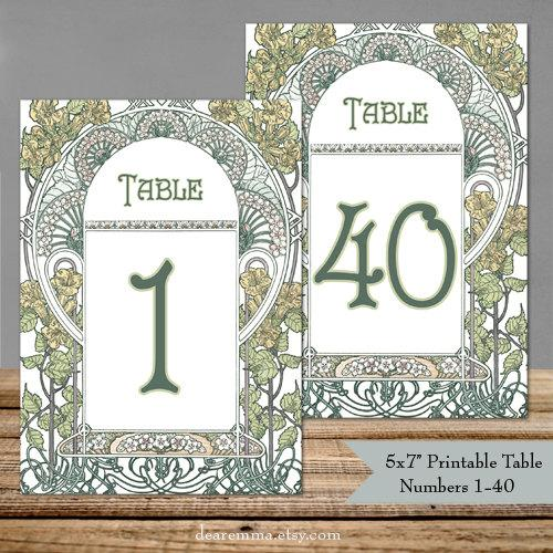 Printable Table Numbers 1-40 Art Nouveau Gatsby Garden - 5x7\