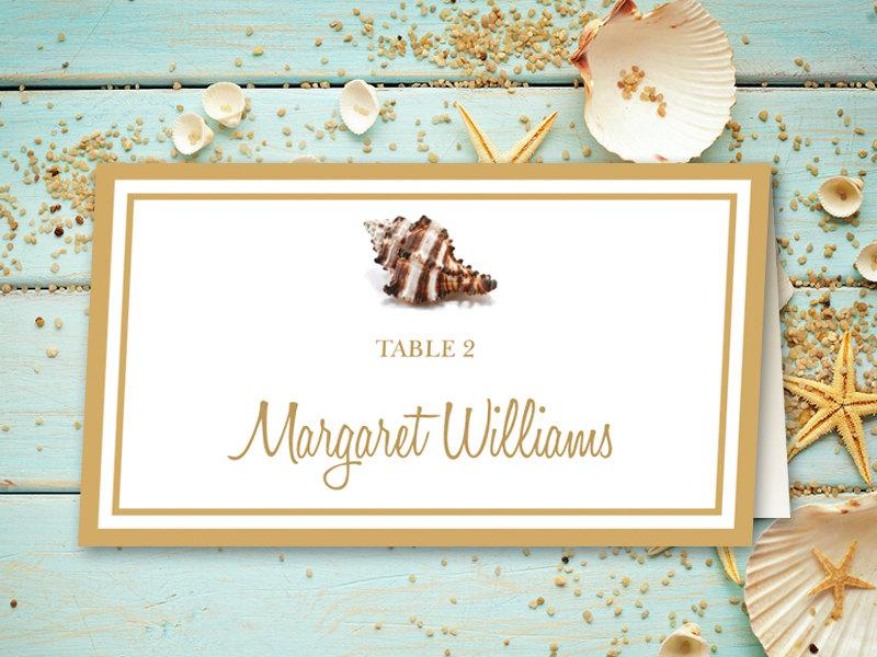 Beach Wedding Place Card Printable Template \ - folded place card templates