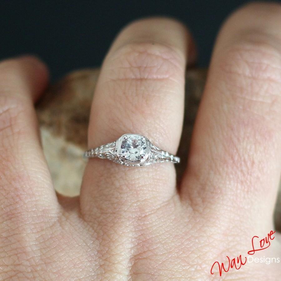 vintage ring art deco ring diamond wedding band filigree ring 14k w vintage filigree wedding bands DaCarli Vintage Ring Art Deco Ring Diamond Wedding Band Filigree Ring 14K White Gold