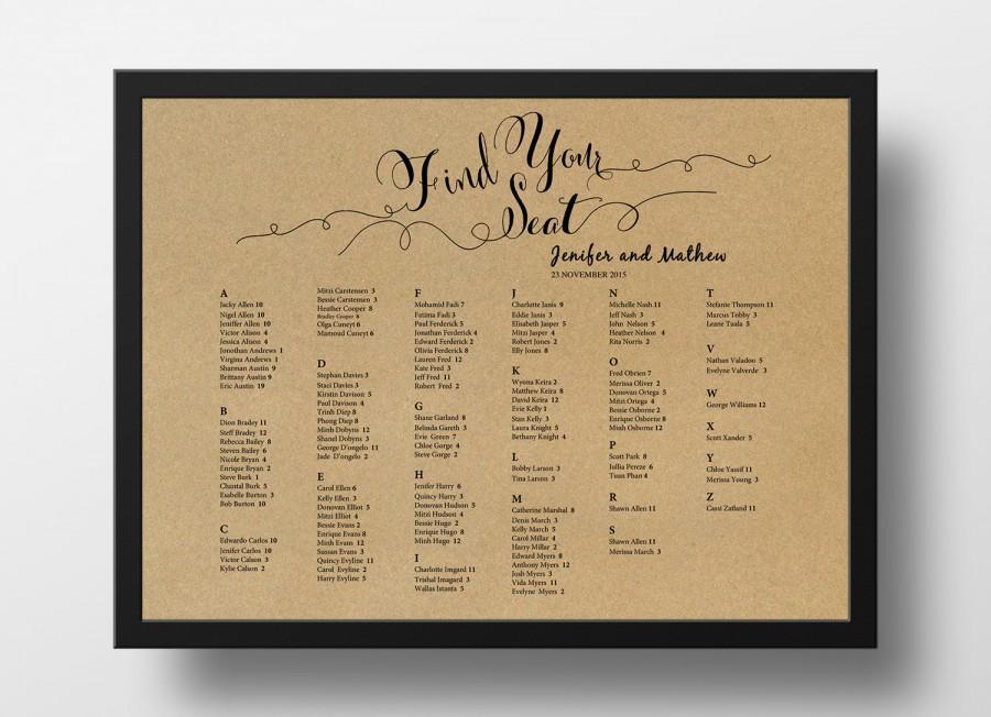 Invitation - Printable Seating Chart Poster Template #2584516 - Weddbook