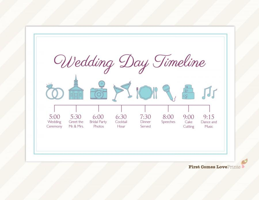 Wedding Day Timeline Card ~ Itinerary For Guests ~ Big Day Schedule