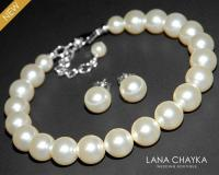 Pearl Bridal Jewelry Set Ivory Pearl Bracelet&Earrings Set ...