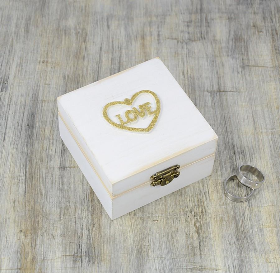 Ring Box Für Hochzeit White Gold Ring Bearer Box Love Wedding Ring Box Pillow
