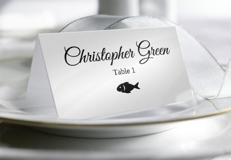 Wedding Place Card Template With Food Options #2587855 - Weddbook