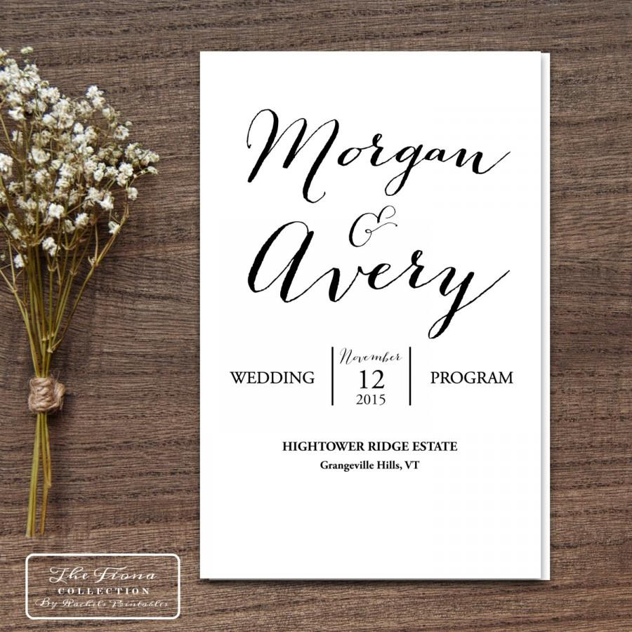 Calligraphy Fonts Books Pdf Printable Wedding Program Folding Booklet Four Pages Rustic