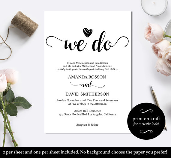 Black And White We Do Wedding Invitation Template - Minimalist Black - wedding template