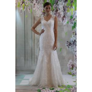 Lovable Flare Style Weddingdress Strap Lace Heart Neckline Bridal Sexy Back Fit Flare Heart Neckline Wedding Dresses Heart Neckline Wedding Dress Patterns Strap Lace Heart Neckline Bridal Sexy Back Fi