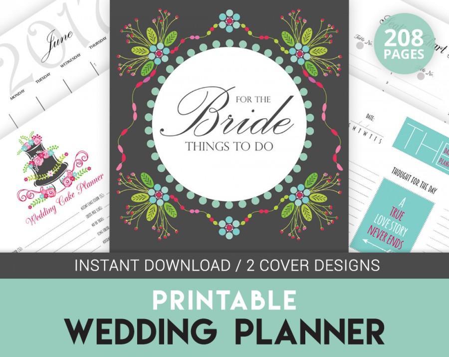 Digital Wedding Planner Book, Printable Wedding Organizer, Colorful