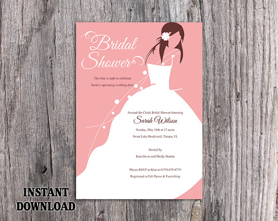 DIY Bridal Shower Invitation Template Editable Word File Instant - bridal shower invitation templates for word