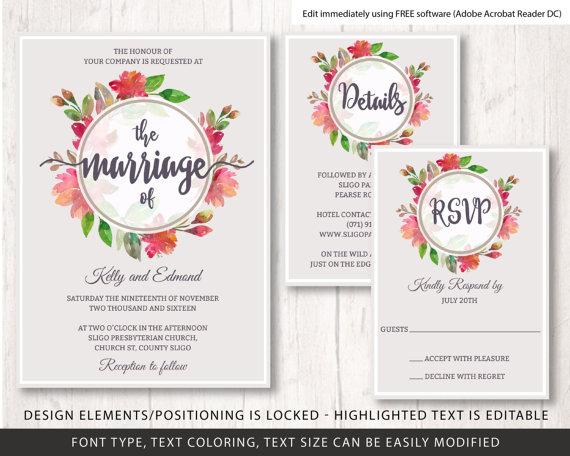 Floral Wreath Wedding Invite Template, Flowers Wedding Invitation