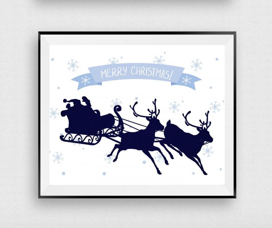 Merry Christmas Printable, Santa Claus Print, Christmas Sign