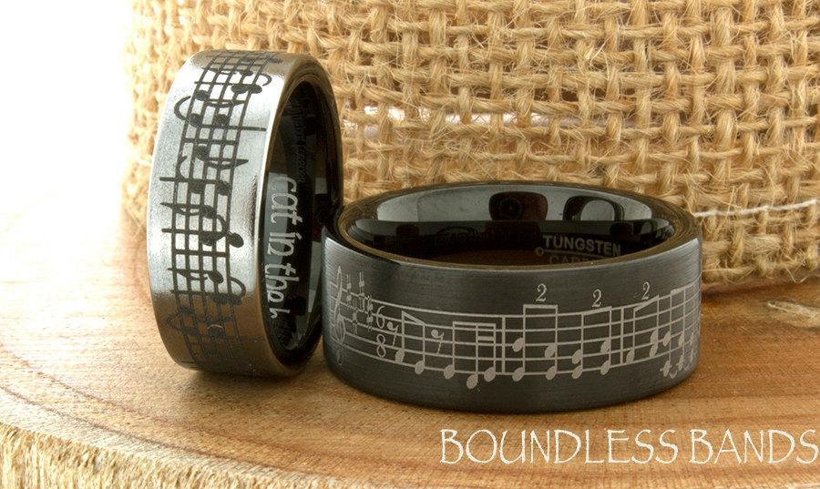 Music Wedding Ring Tungsten Wedding Band Your Wedding Song Ring 7mm