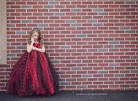 Black And Red Flower Girl Dress Tulle Dress Wedding Dress