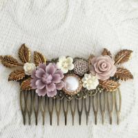Bridal Hair Comb Lilac Wedding Hair Accessories Soft ...