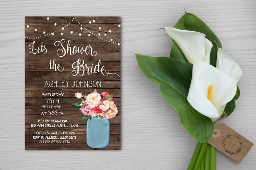 Printable Bridal Shower Invitation, Rustic Bridal Shower Invitation