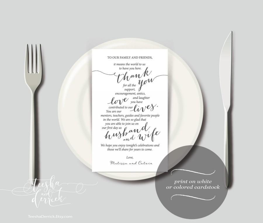 Wedding Place Setting Thank You Instant Download Printable Card