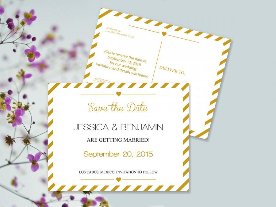 Save The Date Postcard Templates - Gold Carnival Stripes Printable