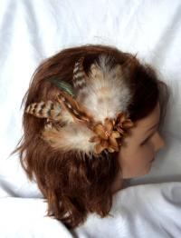 Wedding Hair Fascinator Chinchila Colored Feathers Hair ...