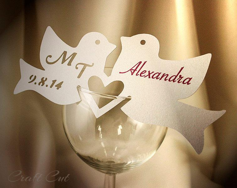 Two Love Birds Wedding Place Cards Personalized Place Card Wedding - buy place cards