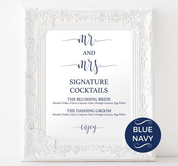 Signature Drinks Printable - Navy Signature Drink - Wedding - drinks menu template