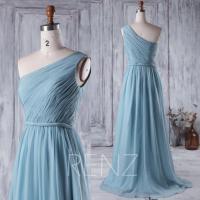 2016 Dusty Blue Bridesmaid Dress, Long Chiffon Wedding ...