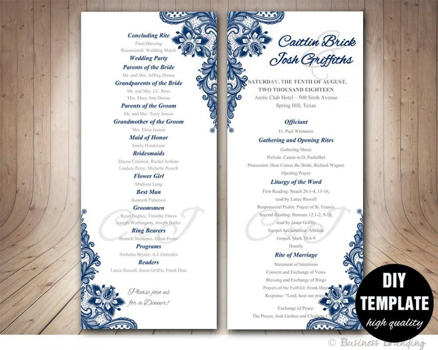 Navy Blue Wedding Program Template - Instant Download Microsoft Word