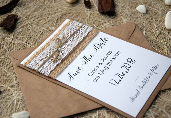Unique Wedding Save The Date Cards, Rustic Wedding Save The Dates