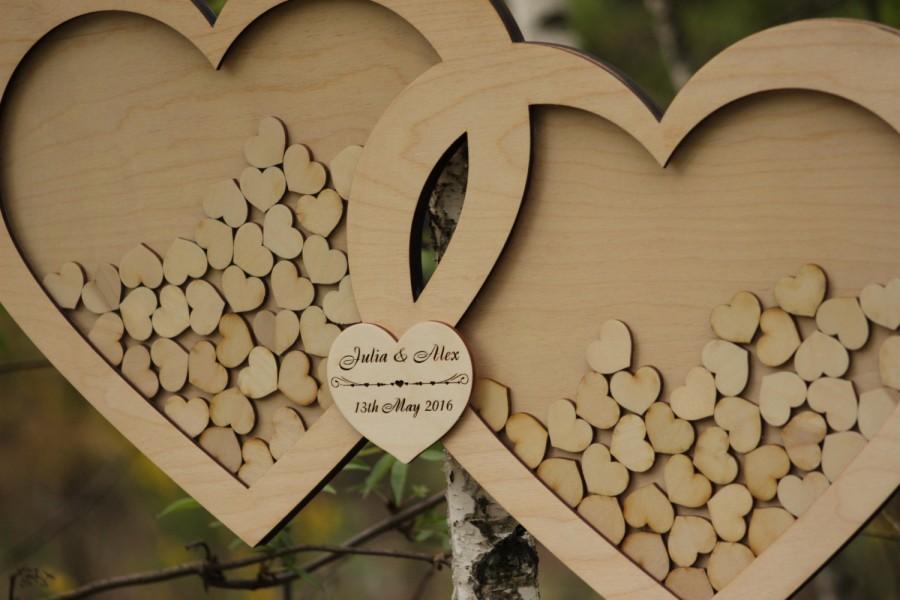 Wedding Guest Book Alternative Guest Book Drop Top Hearts Rustic