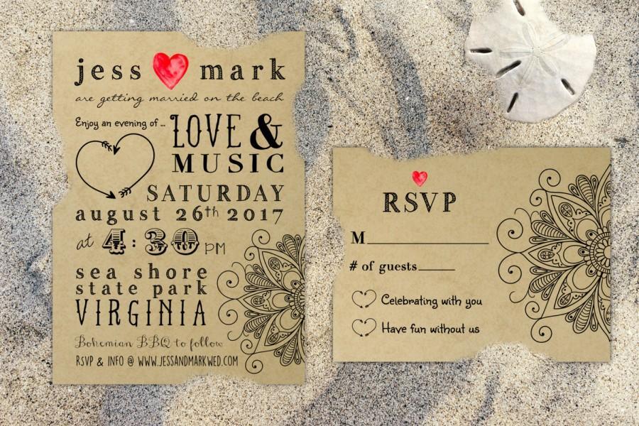 PRINTABLE Bohemian Rustic Kraft Wedding Invitation  RSVP Mandala